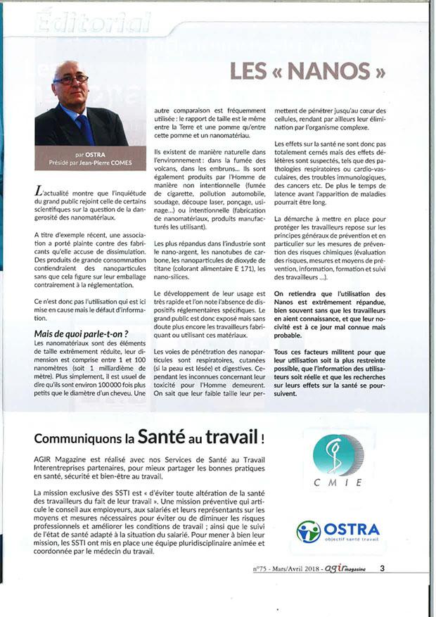 Edito Agir Magazine n°75 sur les Nanos